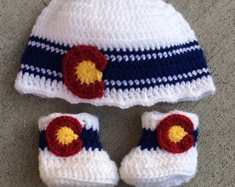 Crochet White Colorado Hat and Baby Booties Set - newborn, 0-3 months 3-6 months, Denver Colorado beanie
