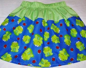 PRETTY KIDS SKIRT, green Skirt, Frogs Design, Great Gift Idea, Pretty Skirt, Any Skirt 18m to 5T for 8.00 dollars .