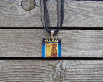 Broadway Musical Aida Glass Pendant and Ribbon Necklace