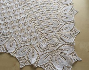 Haruni Hand Knitted Lace Wedding Shawl in White Merino Yarn