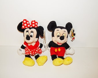 Vintage Mickey and Minnie Mouse Stuffed Bean Bag Toy