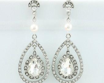 Bridal Earrings Wedding Earrings Wedding Jewelry Bridal Jewelry Vintage Inspired Silver Drop Earrings Crystal Bridal Earrings Style-140