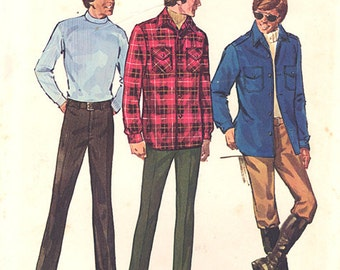 1971 Vintage Simplicity Pattern 9694, Size 36, Men's Pants and Shirt-Jacket, Plaid Shirt