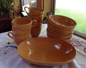 Vintage Prolon Melmac Dishes 16 Piece  Set of 8 Bowls 7 Coffee Cups and 1 Serving Bowl Burnt Orange Terra Cotta