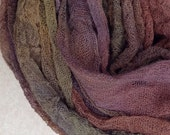 Cotton Scrim, Hand Dyed Gauze, Openweave Fabric, Dyed Butter Muslin, Nuno felting, Textile Art Cloth, Colour No.01, Chocolate