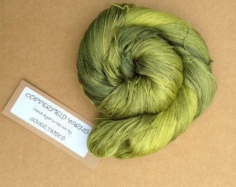 Silk Laceweight Yarn, Hand Dyed Mulberry Silk Yarn, 2ply Knitting Yarn, Crochet, Weaving, Colour No.82 Chartreuse
