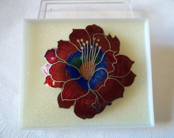 Vintage Unsigned Red Closionne Flower Brooch/Pin