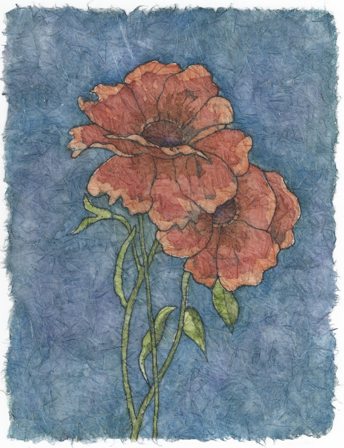 Poppies Watercolor Batik On Rice Paper By Natureartbylynn