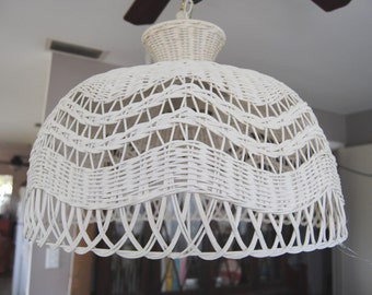 Vintage Oversized Wicker Hanging Lamp Light Fixture, Mid Century Hollywood Regency