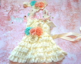 Ivory Blush Peach Aqua dress set,  Flower girls dress,Ivory  Dress, baptism dress,girls dress, Birthday dress,fall dress,baby dress,blush