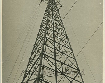 Power line post antique photo