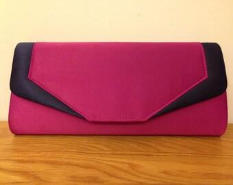 Fushia and navy colour block clutch, fushia clutch, fushia evening bag, fushia bridal clutch, clutch, bags and purses