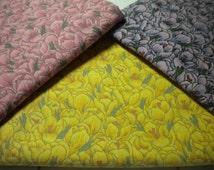 Floral Fabric Remnants, Tulip cotton quilt Print, Fabric Scraps pink yellow purple, cotton remnant, quilting cotton scraps, quilt fabric