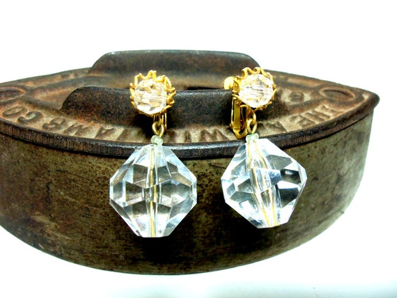 Miriam Haskell Earrings, Faceted Glass Crystal Dangle Globe Earrings 1940s, Signed, Fine Vintage Jewelry, Designer Jewelry