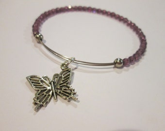 Butterfly Kiss expandable beaded wire bangle bracelet