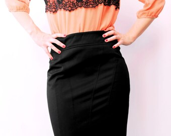 Black tight skirt. Skirt stylish for any special occasion.
