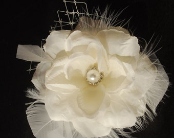 Ivory (White)Bridal  Flower Hair Clip  Wedding Hair Clip  Wedding Accessory Veil Pearls Feathers