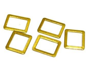 75 Pieces Raw Brass 9x10,5 mm Rectangular Findings