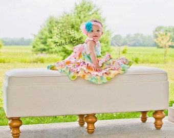 """SALE..Buy 2 get 1 free..""""Juliette""""....Sweetheart Reverse Knot Girl's Tiered Ruffle Dress Instant Download PDF Sewing Pattern, 6-12 M to 8"""