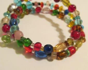Memory wire multi color bracelet