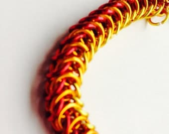 Chainmail bracelet, red orange and yellow chain mail jewelry, handmade chainmaille bright anodized rings made by misome