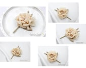 Set of 5 Boutonnieres, Groom Groomsmen Corsages, Champagne corsages, Father Boutonniere, Bridal Boutonniere, Flower Corsage, Buttonhole