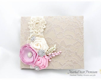 READY TO SHIP Wedding Lace Guest Book Custom Bridal Flower Brooch Guest Books in Champagne, Ivory and Pink