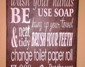 Bathroom Primitive Wood Sign