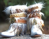 Upcycled Custom REWORKED vintage feathered boho white COWBOY BOOTS - boho boots Wedding Boots Gypsy Boots Festival Boots Leather Ankle boots