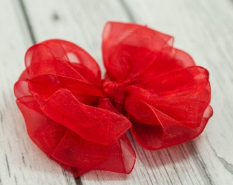 Red Organza Layered Boutique Bow