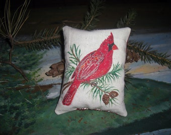 """Country French Balsam Fir Pillow Handpainted Cardinal Design Square 4"""" x 3 1/2"""" Great Wedding Favor"""