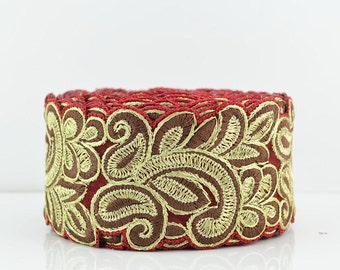 Lace Trim, Embroidered Lace Trim, Border, Indian Style, Floral, Chiffon, Paisley, Filigree, Red, Brown, Gold Thread - 1 meter