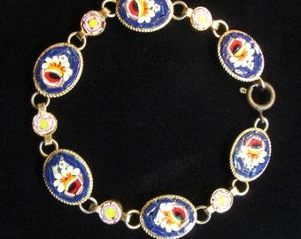 Vintage Italian Gold Tone Floral Micro Mosaic Bracelet