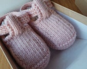 Hand knitted pale pink Tbar baby shoes    36 months