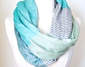 MINT INFINITY SCARF - Mint green color block Circle Scarf - Chunky lightweight mint scarf Women's Fashion Accessory