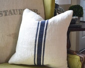 Blue Stripe Grain sack pillow