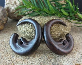 One pair of  2G - 6mm   sono    Wood  Gauged Earrings, Organic gauge, Body Piercing jewelry L1829