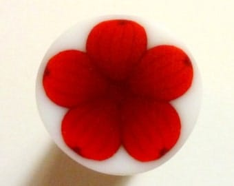 Maroon and Red Flower Polymer Clay Cane