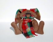 British Columbia Bunny, baby toy, tartan, plaid, ofg, canteam, handmade, waldorf, heritage stuffed rabbit