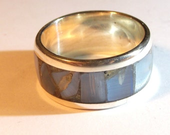 Silver 925 ring with blu glass