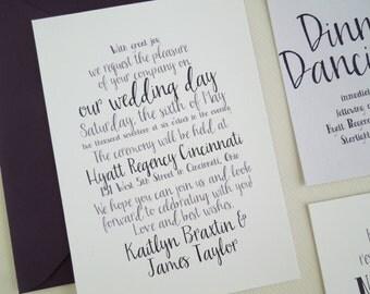 Printable Wedding Invitation - Handwriting Wedding Invites - Cursive Letter Invitation Suite