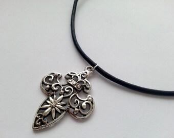 Fleur De Lys choker, Leather Cord and Fleur De Lis Charm Choker Necklace, Silver Plated