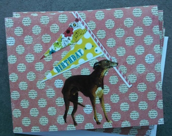 Happy Birthday Greyhound With Pennant Single Notecard