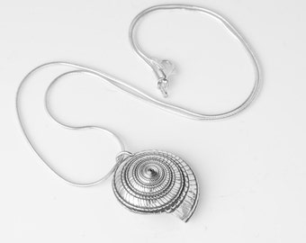 Real Sea shell dipped in silver necklace. Sundial Sea shell pendant necklace. Natural Sundial Shell necklace. Silver Sea shell necklace