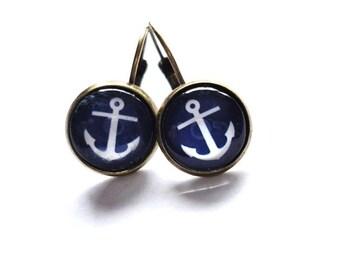 Earrings Anchor blue