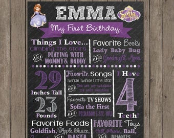 Sofia The First  Chalkboard Custom Color Printable Poster