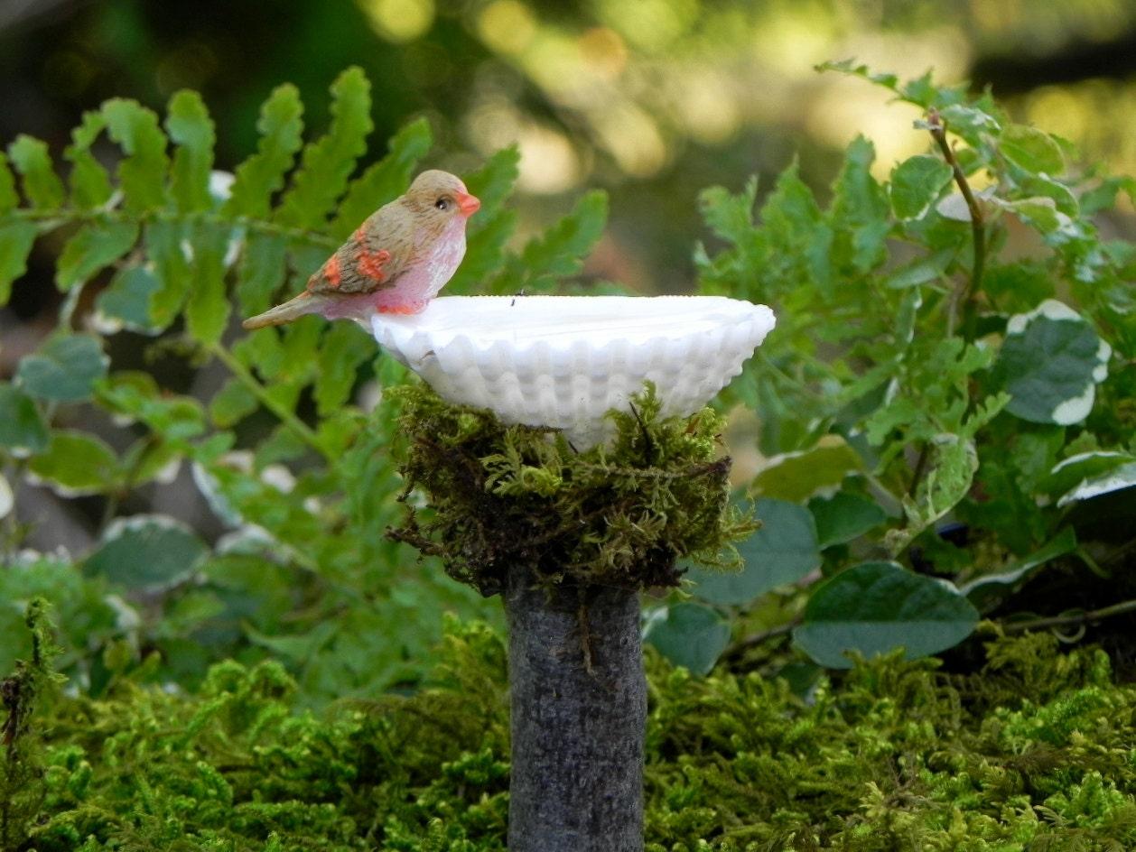 Miniature Fairy Garden Birdbath With Bird Shell Bird Bath