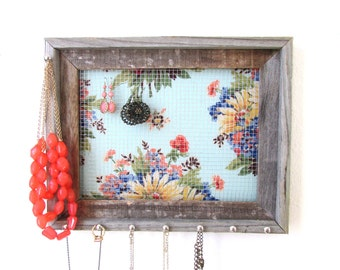Jewelry Organizer Spring Colors Barnwood Jewelry Holder Frame Display Silver Hooks