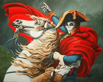 Skeleton Napoleon Art Print. Gothic Day of the Dead Calavera Military painting Horse General Renaissance War Art. Gift for Him Masculine