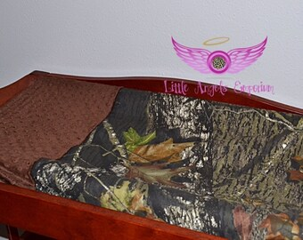 Mossy Oak Camo and Brown Minky Changing Pad Cover
